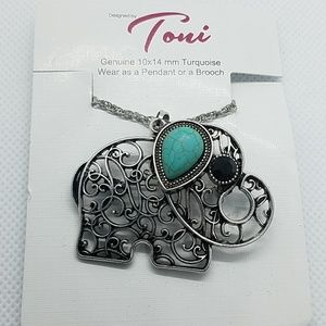 NWT Toni Turquoise Elephant Necklace or Brooch